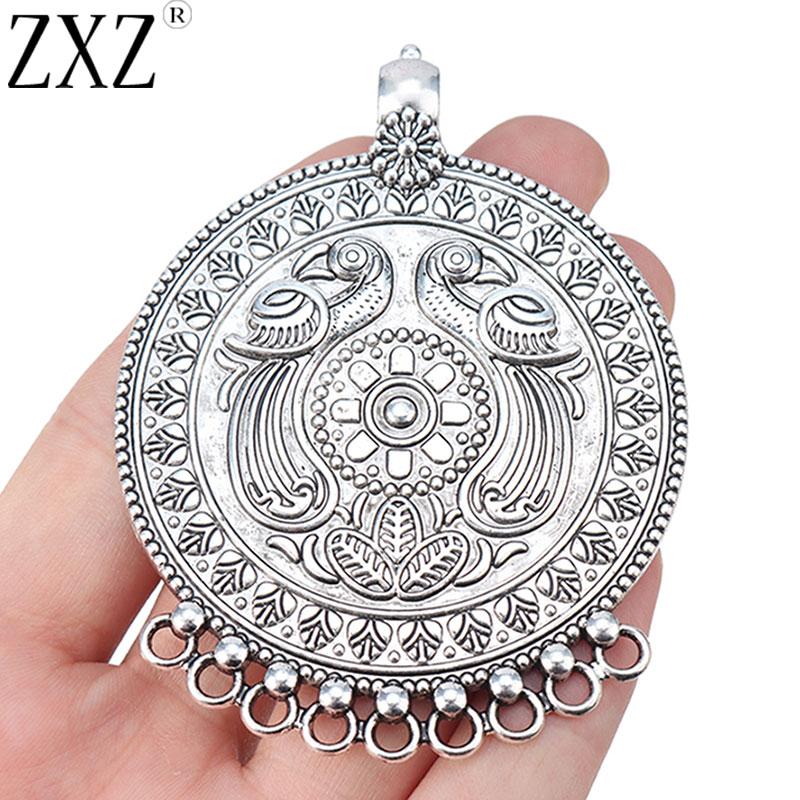 ZXZ 2 uds Tribal bohemio grande 9 Bailors conectores colgante para collar joyería haciendo hallazgos 80x62mm