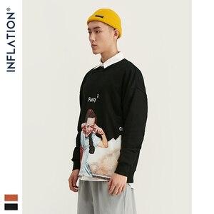 Image 4 - INFLATION Men Sweatshirt Children Print Fleece Men Sweatshirt In Orange And BLack Men Loose Fit Streetwear Men Sweatshirt 9630W