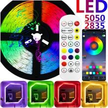 Tira de luces LED con Bluetooth, cinta luminosa Flexible de luz nocturna para decoración de habitación, RGB SMD 5050 2835