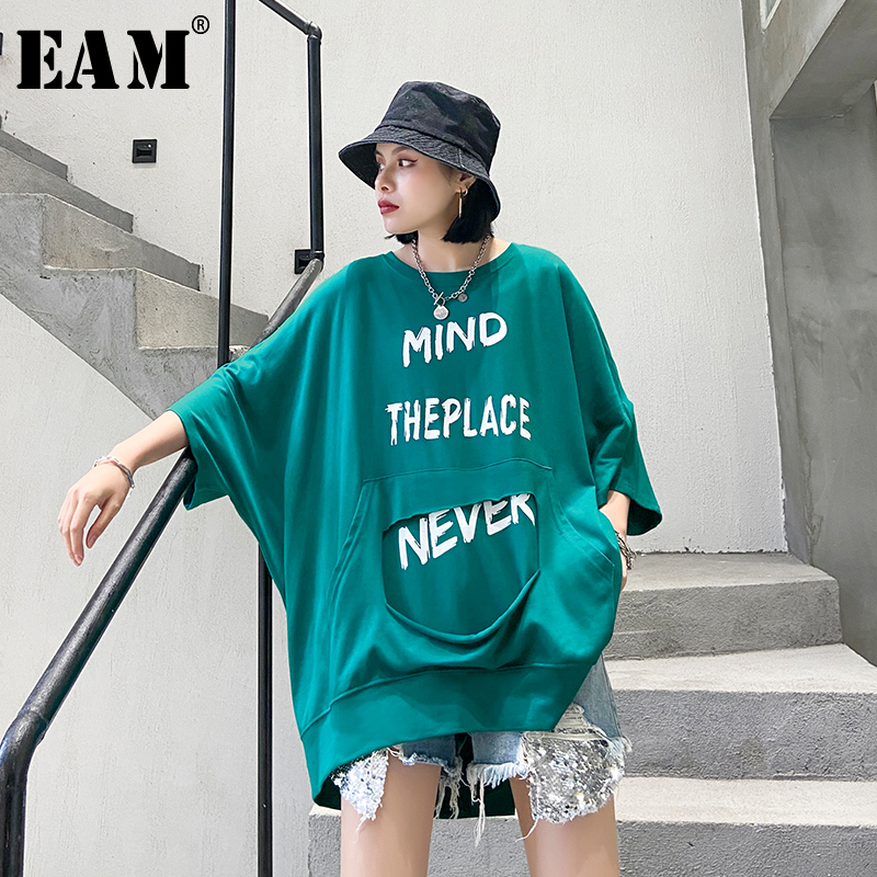[EAM] Women Letter Printed Back Zipper Big Size T-shirt New Round Neck Three-quarter Sleeve  Fashion Spring Summer 2020 1T760