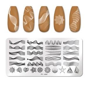 Image 1 - PICT YOU płytki do tłoczenia paznokci prostokąt linia geometryczna wzór fali ze stalowymi ćwiekami artystyczny obraz wzory pieczątek J004