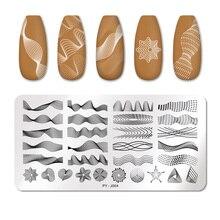 PICT vous ongles estampage plaques Rectangle géométrique ligne vague motif en acier inoxydable Nail Art Image timbre pochoirs conception J004