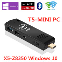 T5 Pro Stick MINI PC Windows 10 licenced Intel Atom x5 Z8350 Quad Core WiFi2.4G&5G 4K Bluetooth 4.0 HDMI HTPC USB PC Stick