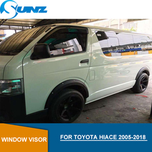 Car door visor For Toyota Hiace 2005-2018  Black side window deflectors rain guards For Toyota Hiace 2005-2018 accessories SUNZ black curved end side step nerf bar for 2005 2017 toyota tacoma double cab 3 running boards car pedals accessories auto parts