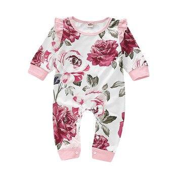 Adorável floral lace romper do bebê meninas macacão de manga longa outono de algodão recém-nascidos roupa do corpo bebe infantil onesies A1