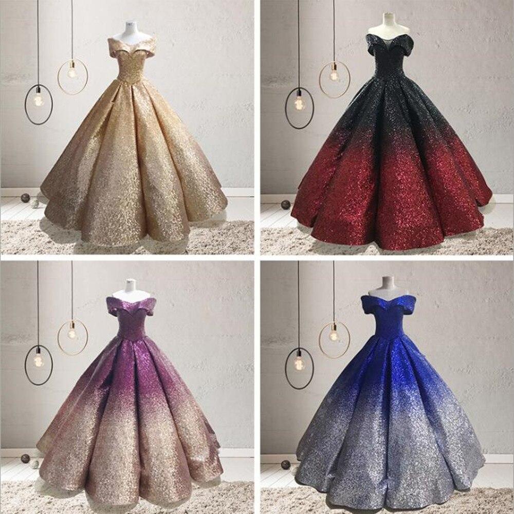 Elegant Off Shoulder Bling Sequined Wedding Bride Ball Gown Dress