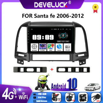 2 Din Android 10 Car Radio Multimedia Video Player 2din Stereo For Hyundai Santa Fe 2006 2007 2008 2009 2010 2011 2012 4G+Wifi image