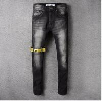 Men's new wave men's fashion hip hop jeans men's black slim straight European and American jeans 2020 New trousers