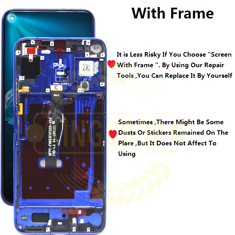 Original for Huawei Honor 20 LCD Display with Frame Screen Touch Digitizer Assembly LCD Displa For YAL L21Touch Repair Parts-in Mobile Phone LCD Screens from Cellphones & Telecommunications    2
