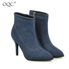 Купить с кэшбэком OQC Pointed Toe Cowboy Cloth Stiletto Boots Women Solid Zipper Thin Heeled Short Boots Autumn Wild Style Casual Ankle Boots D25