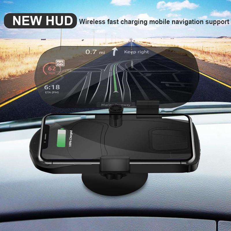 HUD Mobile Phone Holder Head Up Display Wireless Charger GPS Navigation Car Speed Projector Car Charging Bracket