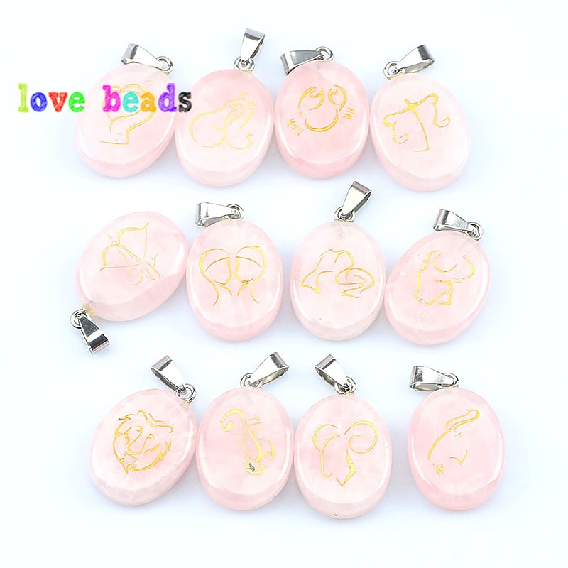 12 Constellation Pendant 20*30mm Leo Libra Aries Natural Pink Crystal Rose Quartzs Oval Charms for Jewelry Making Birthday Gifts