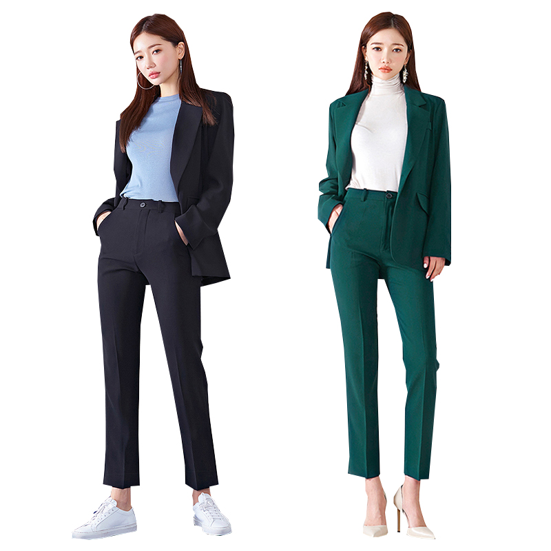 Business Office Women's Suit Autumn And Winter Solid Color High Quality Ladies Blazer Slim Trousers Suit Female Two-piece 2019