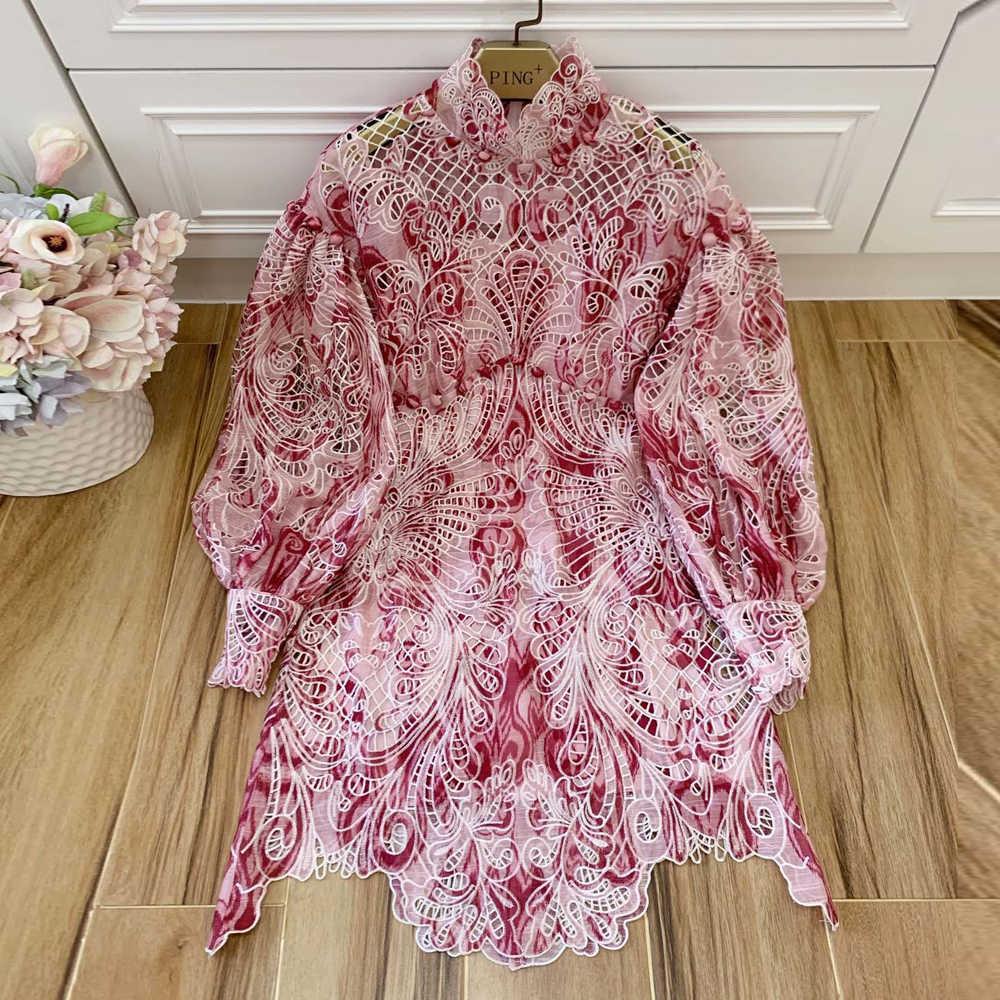 赤 RoosaRosee デザイナーの女性の春夏 2020 中空アウトランタン袖フラワープリントドレスエレガントなパーティー Vestidos 新ドレス