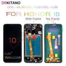 DRKITANO 디스플레이 화웨이 명예 10 LCD 디스플레이 COL L29 터치 스크린 명예 10 LCD 화면 + 지문 교체 프레임