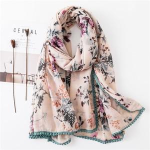 Sparsil Women Spring Cotton Linen Scarf Flower Print Short Tassel Soft Wraps Summer Sun Protection Beach Shalws Long Scarves(China)
