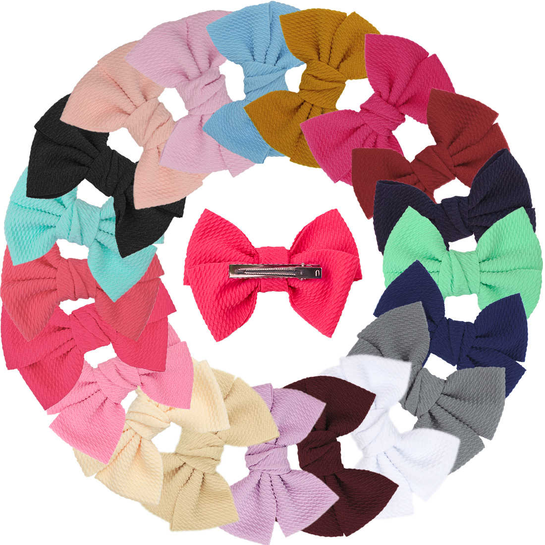20pcs/set Girls Big Bows Velvet Hairbow 5.5 Inch Bow WITH/WITHOUT Clips Women Sweet Hair Accessories Children Headwear