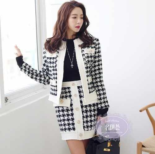 2019 Autumn Winter New Korean Women's Plaid Runway Tweed Wool Jacket Suit Set + Gold Button Mini Skirt Two-piece Skirt Dr774