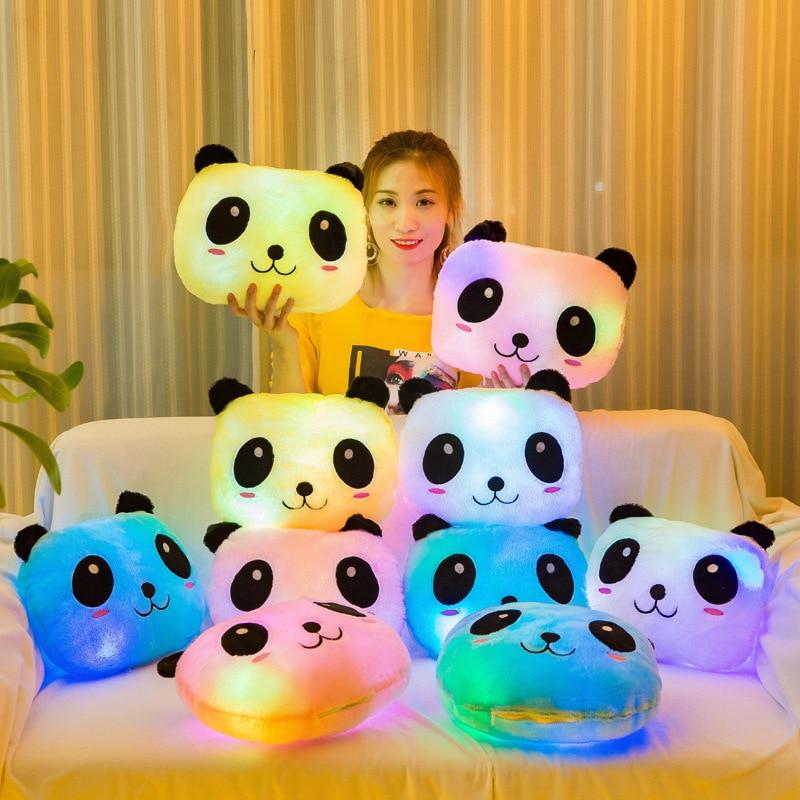 30cm LED Panda Plush Toy Colorful Glowing Panda Pillow Stuffed Plush Animal Doll Pink White Toys for Children Home Decor Gift