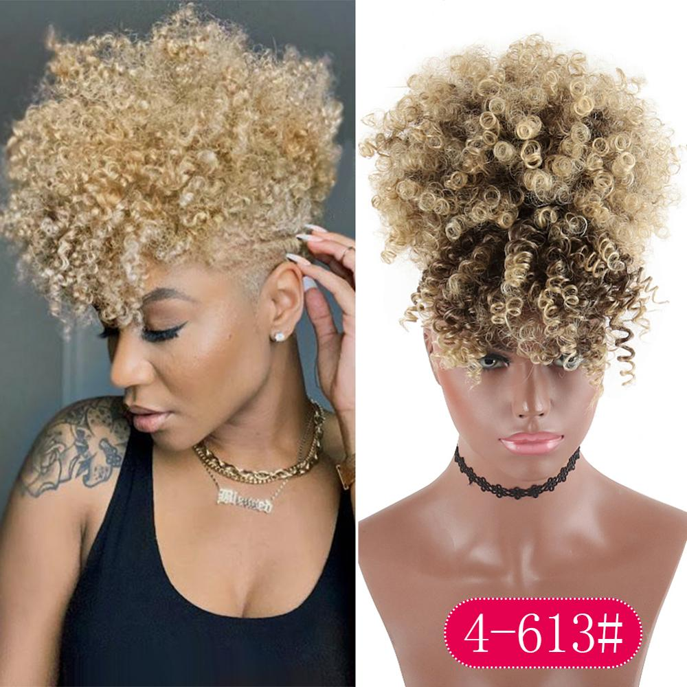 High Puff Drawstring Afro Kinky Curly Synthetic Ponytail With Bangs Ponytail Hair Extension Short Afro Kinky Ponytail Clip In