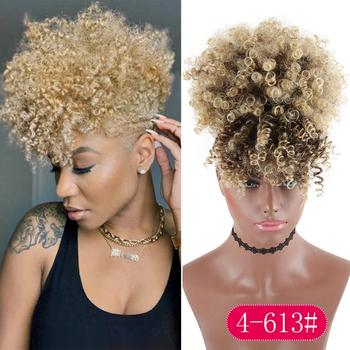 High Puff Drawstring Afro Kinky Curly Synthetic Ponytail with Bangs Ponytail Hair Extension Short Afro Kinky Ponytail Clip in afro vegan