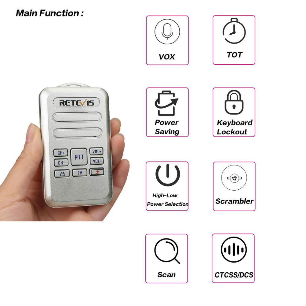 Image 5 - 2pcs Retevis RT20 Mini Walkie Talkie Radio 2W UHF Transceiver VOX FM Radio Type C USB Charge 2 Way Radio Walk Talk Comunicador-in Walkie Talkie from Cellphones & Telecommunications