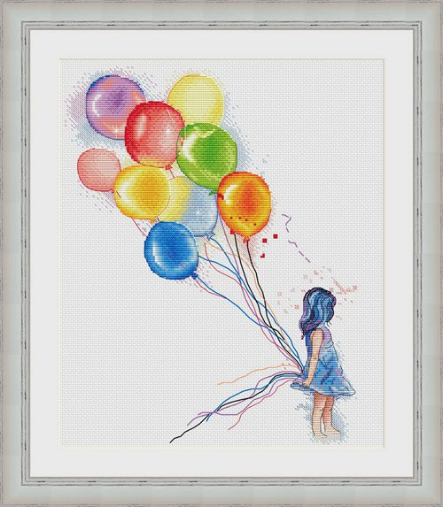 G Gold Collection Counted Cross Stitch Kit Cross stitch RS cotton with cross stitch <font><b>Merejka</b></font> Little girl holding a balloon image