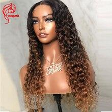 Hesperis 5.5x4.5 base de seda do plutônio profunda encaracolado fechamento do laço peruca parte do meio brasileiro remy ombre encaracolado perucas de cabelo humano para mulher