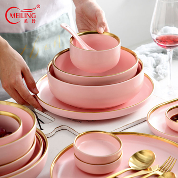 Pink Ceramic Dinnerware Gold Inlay Nordic Home Decoration Porcelain Dinner Plate Soup Bowl Cup Kitchen Restaurant Utensils Gifts