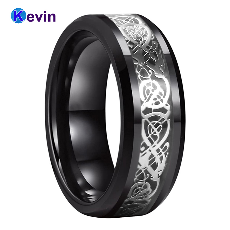 8mm Dragon Men/'s Ring Carbon Fiber Band Stainless Steel Comfort Fit Accessories