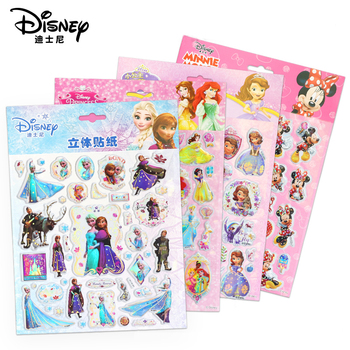 Genuine Disney Princess Frozen Mickey Mouse Bubble Sticker Cartoon 3D Pixar Cars 3 Puffy Stereo Waterproof Sticker For Kids Gift image