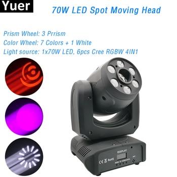 цена на 70W Mini LED DMX512 Gobo Moving Head Spot Light Club DJ Stage Lighting Party Disco Moving Heads Light Beam Wash Spot 2IN1 Par