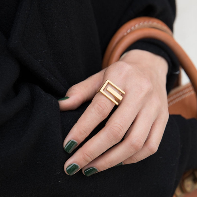 Geometric Rectangle Wide Rings for Women Punk Hip Hop Gold Color Fingers Ring Trendy Statement Ring Fashion Jewelry Dropship New|Rings| - AliExpress