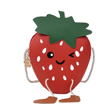 Casual Mini Strawberry Messenger Bag For Girls Heart-shaped Crossbody Pu Leather Shoulder Bags Cute Small