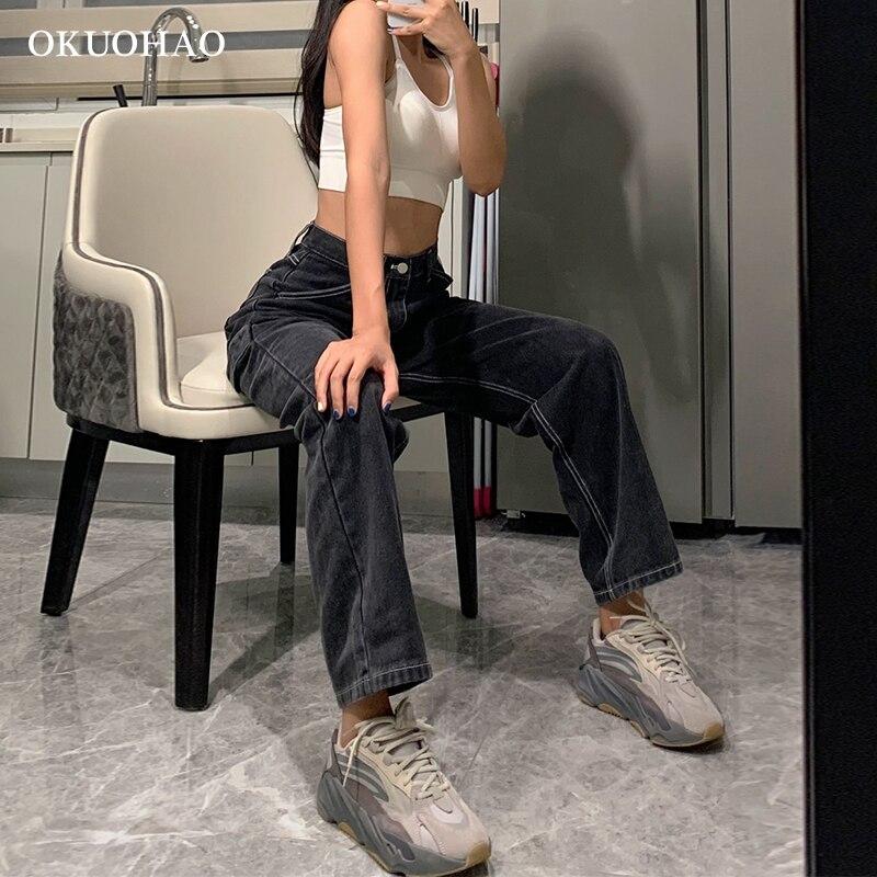 Jeans Woman High Waist 2020 New Wide Leg Female Pants Straight Loose Black Mom Pants Fashion Baggy Boyfriend Jean Women Trousers 4