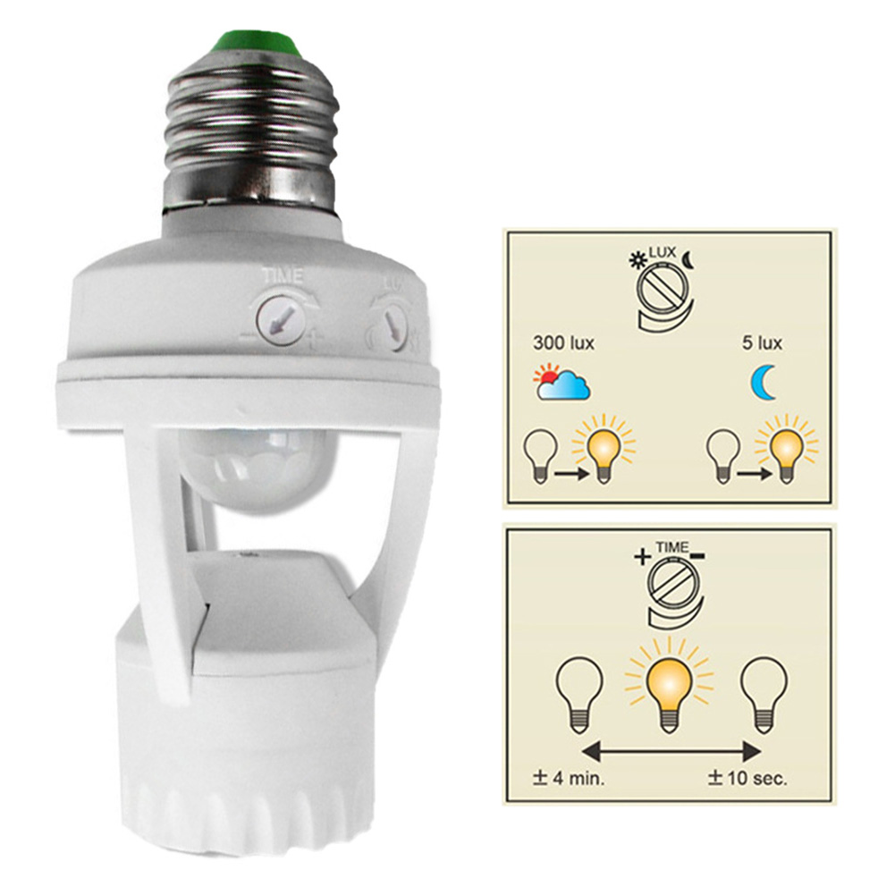 New 360 Degrees 60W PIR Induction Motion Sensor IR Infrared Human E27 Plug Socket Switch Base Led Bulb Light Lamp Holder