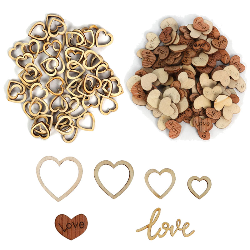 200pcs Rustic Wood Wooden Love Heart Wedding Table Scatter Decoration DIY Craft