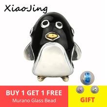 925 Sterling Silver charms cute animal black enamel penguin Beads Fit original pandora Bracelets Jewelry making for women Gifts цена