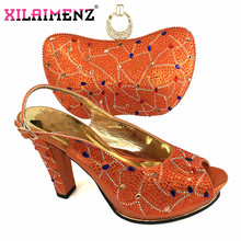 Latest 2020 Nigerian Women Best Match Shoes and Bag Set Italian Ladies Party Matching Sadals and Bag in Orange Color for Wedding(China)