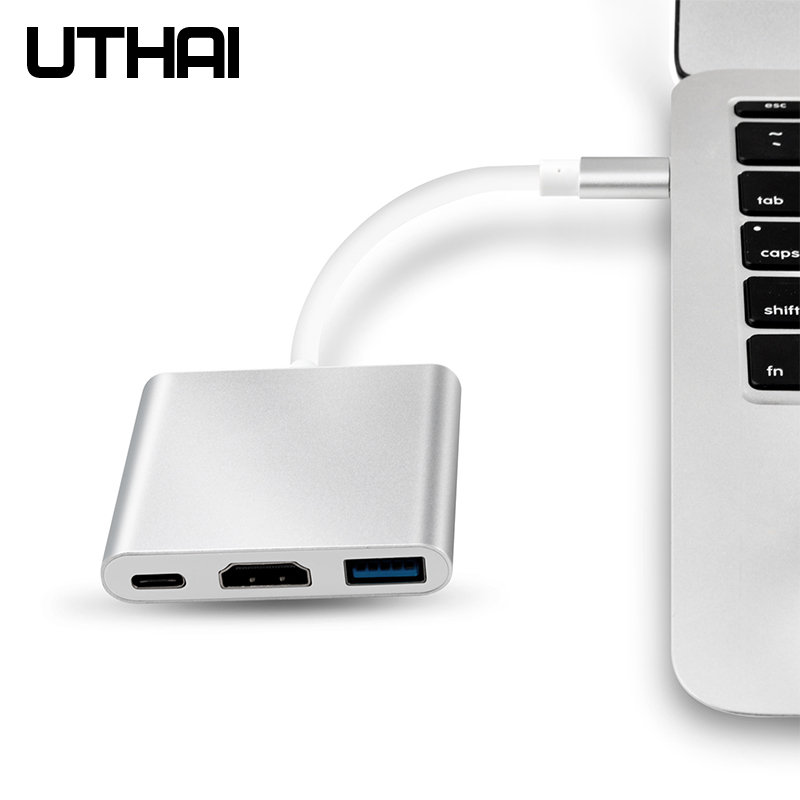 UTHAI C41 Type-C to HDMI 1080P 4K Adapter Android Phone to HDMI HD Cable PD Charging USB C 3 In 1 Converter 2