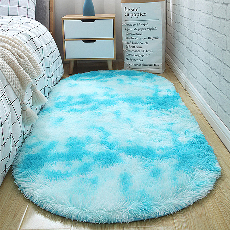 Modern Simple Oval Gradient Color Carpets Washable Rugs For Living Room Bedroom Bedside Decor Shaggy Mats Faux Fur Carpets