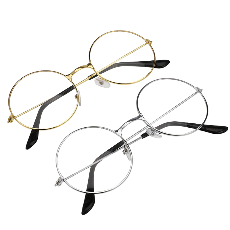Unisex Metal Frame Eyeglass Vintage Round Reading Glasses Clear Lens Eye Glasses Frames With 2 Colors