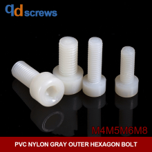 PA66 M4M5M6M8 nylon plastic Hexagon socket cap screws hexagonal bolt GB70 DIN912