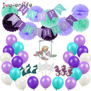 1set Mermaid Party Decoration Happy Birthday Bunting Banner Paper Tassels Pompoms Garlands Cake Toppers Birthday Party Supplies