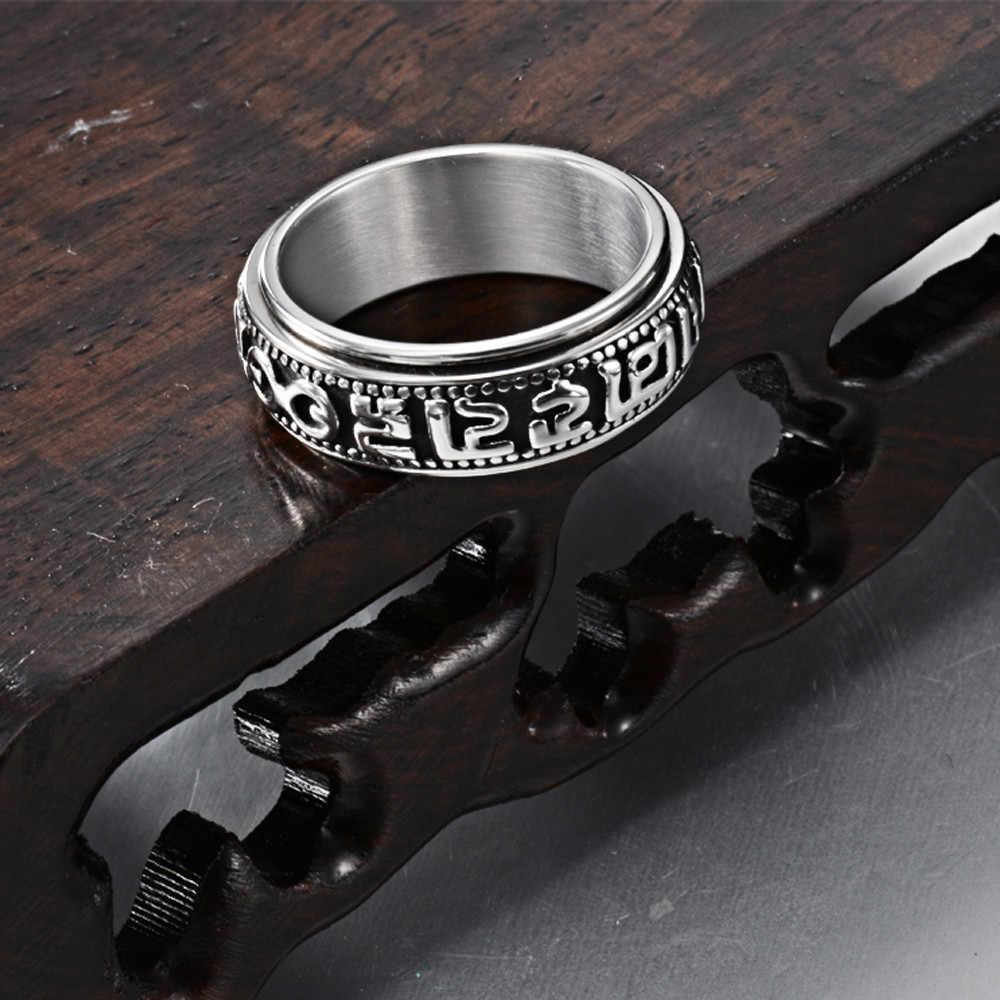 โมเดิร์นครั้งสแตนเลสสีเหล็กย้อนยุคคำตกแต่งแหวน Charm Lord of the Rings ชายใหม่แฟชั่นอินเทรนด์เครื่องประดับ