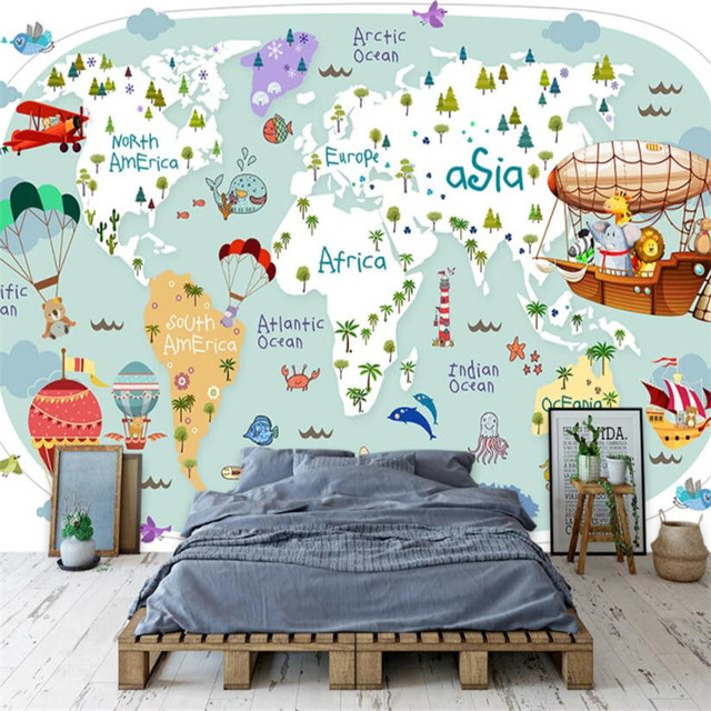 Nordic Cartoon Children s Room Wall Paper 3D Animal Travel Around The World Map Blue Background