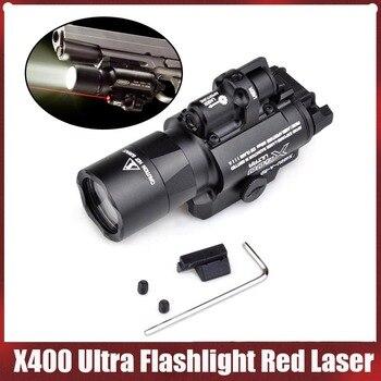 Ультра мигающий светильник Element Airsoft Surefir X400 с красным лазером, 20 мм, Пикатинни Вивер, крепление на рейку 450 лм, X400U, пистолет светильник EX367