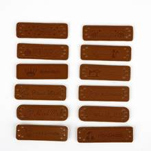 48 unids/lote hecho a mano, etiquetas ropa de cuero de la PU de etiquetas hecho a mano etiqueta bolsas de mezclilla zapatos DIY suministros de costura