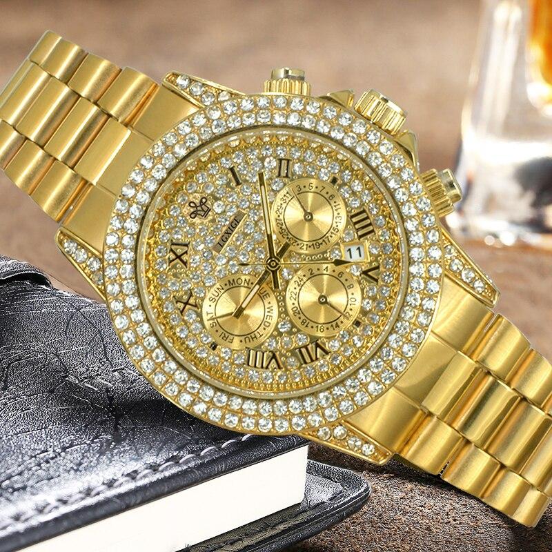 Часы мужские полностью из 18-каратного золота, роскошные Брендовые мужские часы с бриллиантами, роскошные мужские кварцевые часы с ремешком, 2020 5