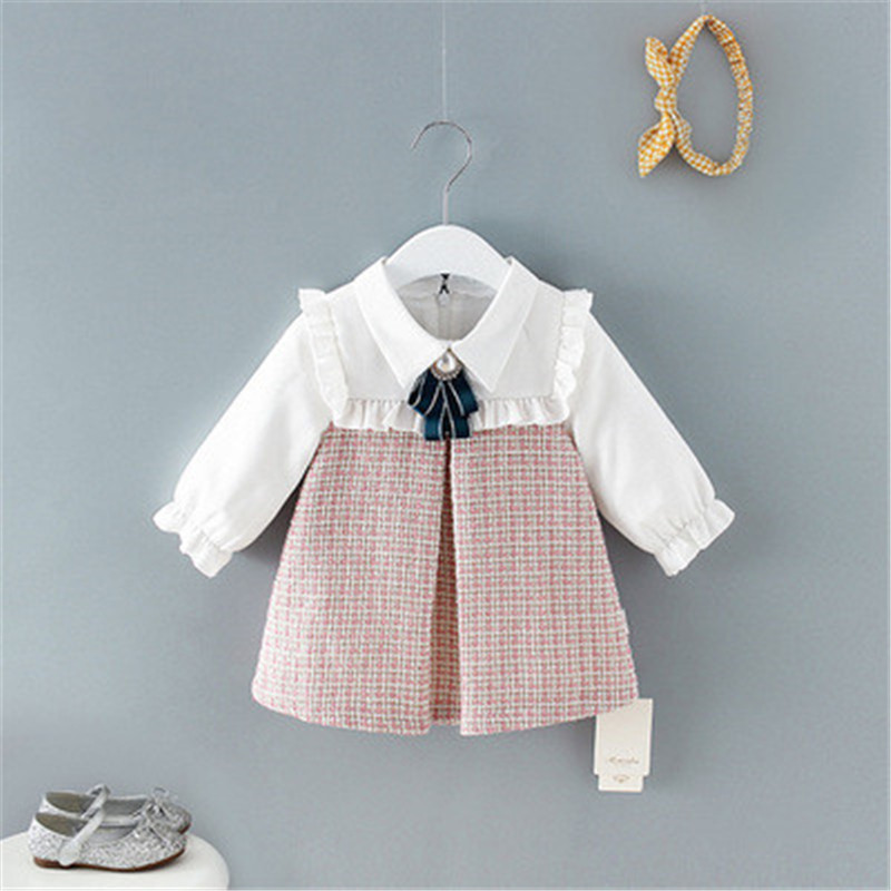 Clothing Spring Princess-Dress Birthday-Party-Clothes Long-Sleeve Plaid Baby-Girls Fashion title=